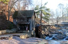 """Sixes Mill, aka Gresham's Mill. Cherokee County, GA.   Site of a military Indian removal encampment for the Georgia Militia during the """"Trail of Tears"""" in 1838. The current mill was built originally in 1820 by gold prospectors and rebuilt in 1878 and 1880."""