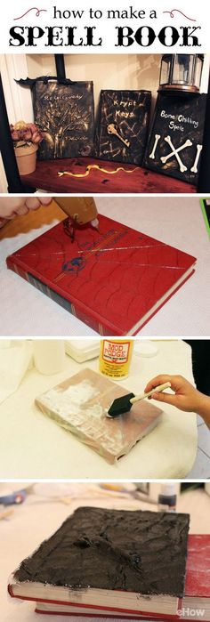 DIY Spell Book for Halloween Decor. Create these spell books to add extra spooky for Halloween. Add a few inexpensive Halloween trinkets to give them a creepy 3-D effect!