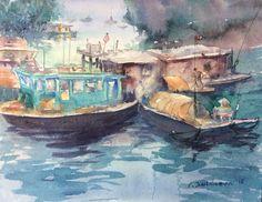 """Men and the sea"" watercolor work by Elnura Kuldaeva"