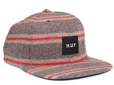 Huf Box Logo Starter Snapback Hat (Grey/Red) - Black Sheep