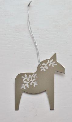 Swedish Metal Dala Horse Christmas Ornament Scandinavian Modern