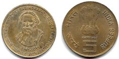 RABINDRANATH TAGORE 150 BIRTH ANNIVERSARY RS 5 COMMEMORATIVE COIN- 2011    Feature of coin  Country- India  Face value- 5 rupees  Year- 2...