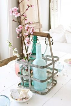 The Lab on the Roof: 15 Cherry Blossom Decor Ideas for Spring Vintage Bottles, Bottles And Jars, Glass Bottles, Cherry Blossom Decor, Cherry Blossoms, Blossom Flower, Farmhouse Table Centerpieces, Vibeke Design, Milk Crates
