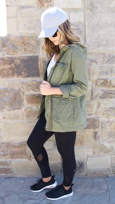 Athleisure look... nikes, lululemon yoga pants, utility jacket