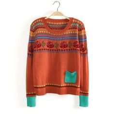 retro print Pocket fashion knit jumper