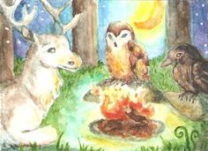 ACEO Forest Spirits on A Summer Night Stag Owl Crow Moon Campfire M Haskins | eBay