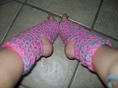 Simple, basic yoga socks made with 2 strands of worsted weight yarns held together!