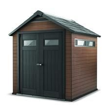 Keter Fusion x 9 Outdoor Wood Plastic Composite Large Storage Shed, Mahogany, Brown