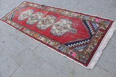 "Vintage Runner Rug Carpet, Vintage Turkish Hallway Rug Carpet, Handmade Anatolian Decorative Turkish Floor Red Rug Carpet, 280x97cm,112""x39"""