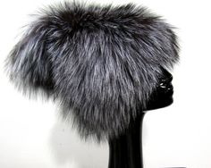 d14e8bb4a81 New Natural Knitted Silver Fox Bucket Hat w  Flap. Fur Accessories ...