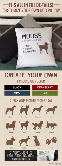 Even if your dog isn't allowed on the couch, they'll always be there with these adorable, custom pillows. Choose your color and breed. Then, add in your pup's name, pronunciation, and their three defining characteristics. This is also a great gift for the dog lover in your life. Shop even more pet gifts at PersonalizationMall.com.
