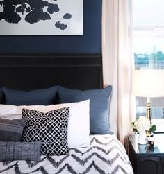 Master Bedroom- I do actually like the navy! #hisstyle #herstyle #tempurpedic #choiceisyours #inspiration #designsponge