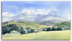 watercolor landscape paintings | Original watercolour painting of the Ariege, by artist Lesley Olver