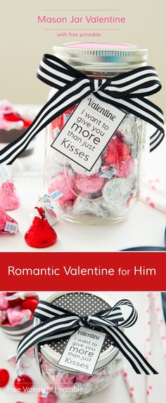 Mason Jar Valentine idea with Free Tag Printable || Costs about $5 to make.