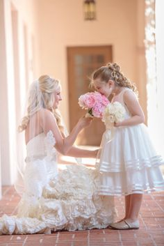 White Tea Length Flower Girl Dress | Tina Sargeant Photography | TheKnot.com
