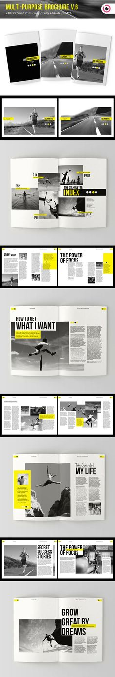 Favourite combinations all in one. Bold, yellow, and Trade Gothic. mm. The Silhouette Brochure by Tony Huynh, via Behance