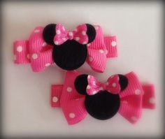 Boutique Baby Girl Hair Clips Bows Minnie Mouse Hot Pink Dots Bowtique #Handmade