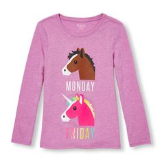 Girls Long Sleeve Glitter 'Monday (Horse) Friday (Unicorn)' Graphic Tee - Purple T-Shirt - The Children's Place Unicorn Fashion, Unicorn Outfit, Unicorn Shirt, Toddler Girl Outfits, Kids Outfits, Cool Outfits, Girls Tees, Shirts For Girls, 6th Grade Outfits