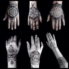 mãos Kenji Alucky, que trabalha com pontilhismo e padrões geométricos, criando tatuagens de cair o queixo.