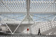 Perforated canopy shelters stalls at modernised Portuguese marketplace New Architecture, Contemporary Architecture, Arch Light, Canopy Shelter, Traditional Market, Geometric Tiles, Metal Canopy, Project, Ground Floor Plan