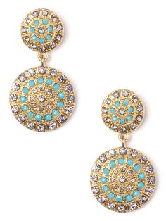 sparkly blue and gold drop earrings from baublebar