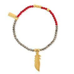 Chlobo Sun Dance Multi-Coloured Gold Plate Feather Bracelet - £85.00