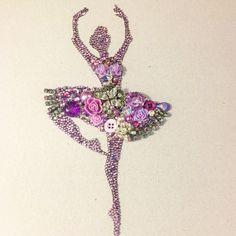 Beautiful dancing ballerina button art and mixed media art