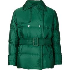 Prada padded bomber jacket (€1.110) ❤ liked on Polyvore featuring outerwear, jackets, green, green bomber jacket, green flight jacket, green jacket, prada and bomber jacket