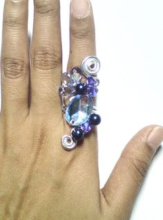 My wire ring creation in blue Purple Cow, Wire Rings, Sapphire, Crafts, Blue, Accessories, Jewelry, Manualidades, Jewels