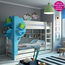 KIDS DOMINIQUE TRIPLE BUNK BED WITH TREE BOOKCASE in White and Blue
