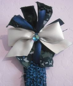 Navy Heart Bow and Headband Only  $8.00 + 15% Discount in our HeavenlyGiggles Bonanza store