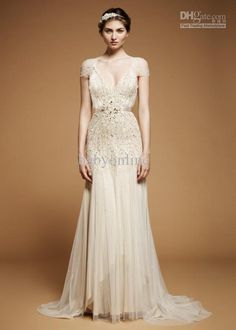 Wholesale 2012 Sexy V Neck Short Sleeves Evening Dresses Ivory Sequins Beaded Crystals Gown Prom Dresses, Free shipping, $152.6-169.05/Piece | DHgate