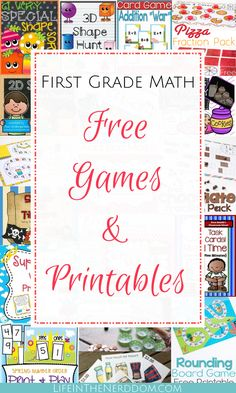 the nemesis of many a homeschool mom. I'm certainly no exception. I& found that keeping math fun is a must! These first grade math games definitely Printable Math Games, Free Math Games, Math Games For Kids, Fun Math, Printables, Easy Math, Lego Math, Kids Math, Math Help