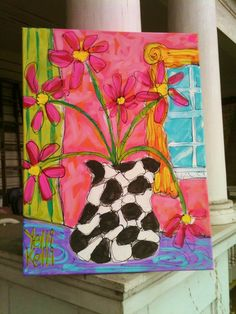 Modern Flower Vase Painting Ready To Ship by YelliKelli on Etsy