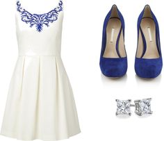 That dress is fabulous! Forever New: High neck dress, $125 / Nicholas Kirkwood hidden platform pumps, $715 / Blue Nile jewelry