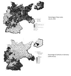 Percentage of Nazi votes in 1933, and percentage of Catholics in 1934