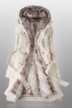 Beige Parka with Faux Fur Inner | deepblue - Clothing on ArtFire. I just ordered this last night. I have been looking for a fur lined parka for so long and this is exactly what I had in mind. So excited!