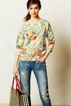 Large floral print-drop shoulder- Bloomfield Tee - anthropologie.com