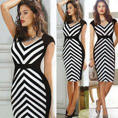 Womens Fashion Optical Illusion Colorblock Business Cocktail Party Pencil Dress #GLKJ #Tunic #WeartoWork