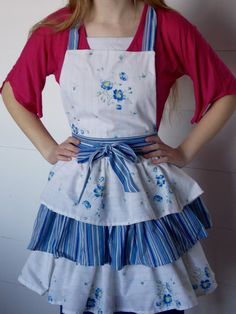 Items similar to Ladies Triple Tiered Apron Made From Vintage Sheets on Etsy Vintage Sheets, Aprons, Hand Sewing, Content, Lady, Fabric, Stuff To Buy, Shopping, Fashion