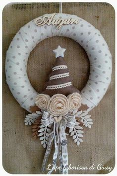 Christmas Door Wreaths, Christmas Crafts, Christmas Ornaments, Something New, Burlap Wreath, Garland, Diy And Crafts, Holiday Decor, Handmade