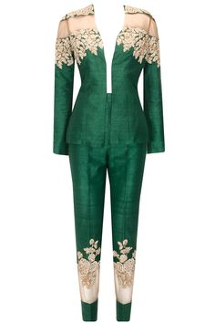 Emerald green rose embroidered tuxedo and pants set available only at Pernia's Pop Up Shop..#perniaspopupshop #shopnow #newcollection #bridal #festive #wedding #bhumikasharma #clothing#happyshopping