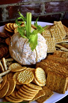 Make a cheese ball, any old cheese ball.stick a leafy stalk of celery in the top, and now it's a PUMPKIN cheese ball. Pumpkin Patch Birthday, Pumpkin Patch Party, Pumpkin Birthday Parties, Birthday Ideas, Pumpkin Patches, Harvest Birthday Party, Fall First Birthday, Fall Harvest Party, Pumpkin First Birthday
