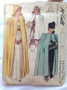 Vtg 40's McCall Cape Cloak w & w/o Hood Sewing Pattern Sz 14-16 Small
