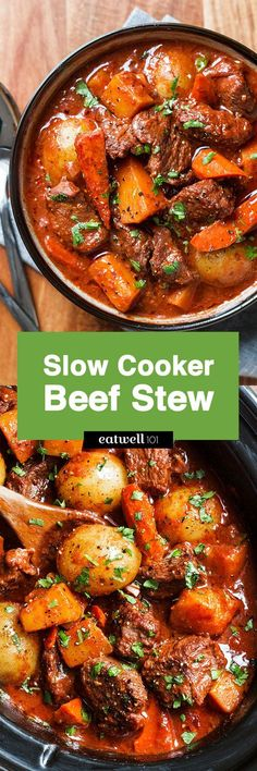 Slow Cooker Beef Stew — A hearty and delicious beef stew that is loaded with hearty veggies and incredible flavor!