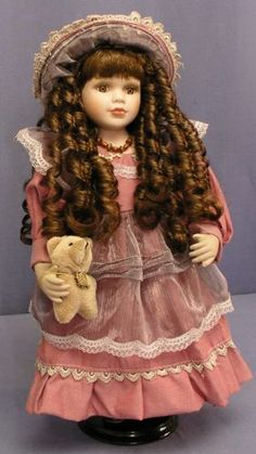 The Porcelain Doll with Cute Teddy Bear is a Collectible Limited Edition to pieces world wide. Porcelain Doll Costume, Vintage Porcelain Dolls, Porcelain Dolls Value, Fine Porcelain, Painted Porcelain, Hand Painted, Victorian Dolls, Antique Dolls, Vintage Dolls