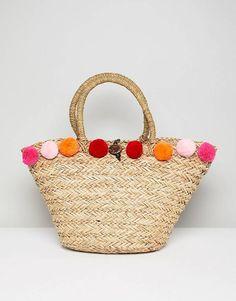 South Beach Pink Pom Pom Beach Bag