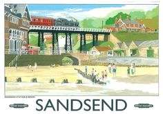 Sandsend Near Whitby North Yorkshire Posters Uk, Train Posters, Railway Posters, Poster Prints, Retro Posters, British Travel, British Seaside, British Isles, Vintage Advertising Posters