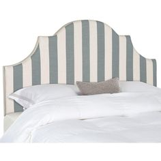The dramatically arched Hallmar queen headboard in a chic black and white awning stripe makes an ideal choice for a beautiful bedroom makeover in minutes. Expertly tailored in organic linen blend upholstery, the graceful Hallmar silhouette is a classic.