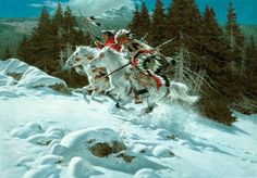 Frank McCarthy - American Indians Riding Fast Paced in Snow.